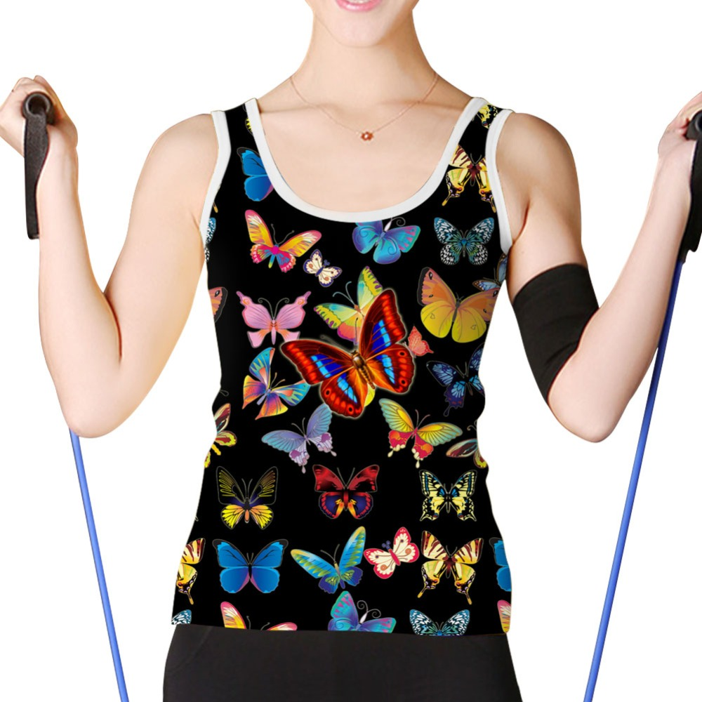 FORUDESIGNS Newest Summer Women Tanks Sleeveless Slim Women Tanks Tops Short Ladies O-neck Tank Tees Black Butterfly Prints Vest