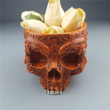 MRZOOT Resin Craft Statues For Decoration Skull Brown Skeleton Flowerpot Fruit Plate Container Storage Ashtrays