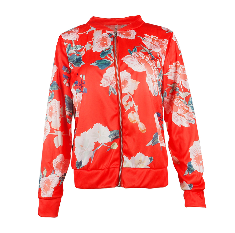 Bomber Jacket Women Floral Print Plus Size Coat Spring Summer Ladies Casual Classic O-Neck Long Sleeve Outwears Basic Coats