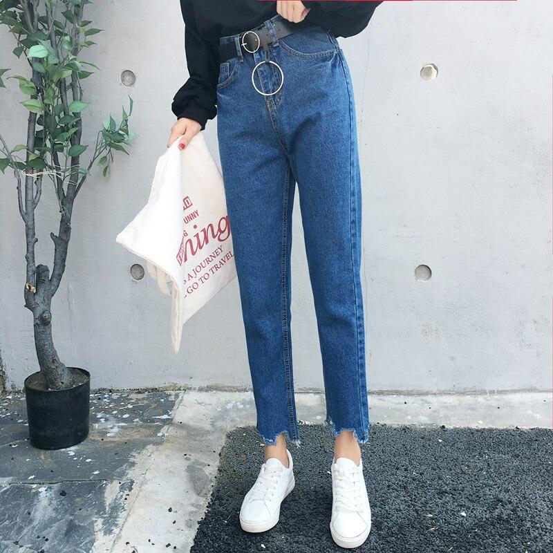 Summer Autumn Newest Fashion Wild Casual High Waist Female Burrs Edge Jeans Pants Women Jeans Pant Demin Straight Pants Trousers