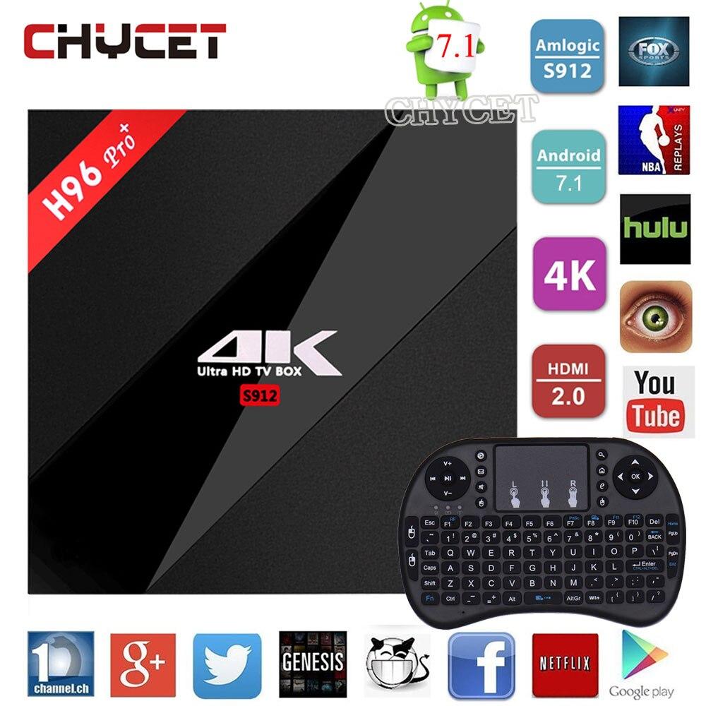купить H96 PRO Plus + Android 7.1 TV Box Amlogic S912 Octa Core 3G/32G Dual WiFi HDMI 2.0 Smart tv box 1000M LAN Media Player +Keyboard недорого