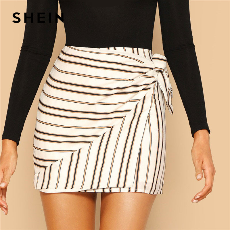 SHEIN Modern Lady Multicolor Tie Side Striped Wrap Mini Skirt Women Summer Casual Going Out HighStreet Above Knee Short Skirts