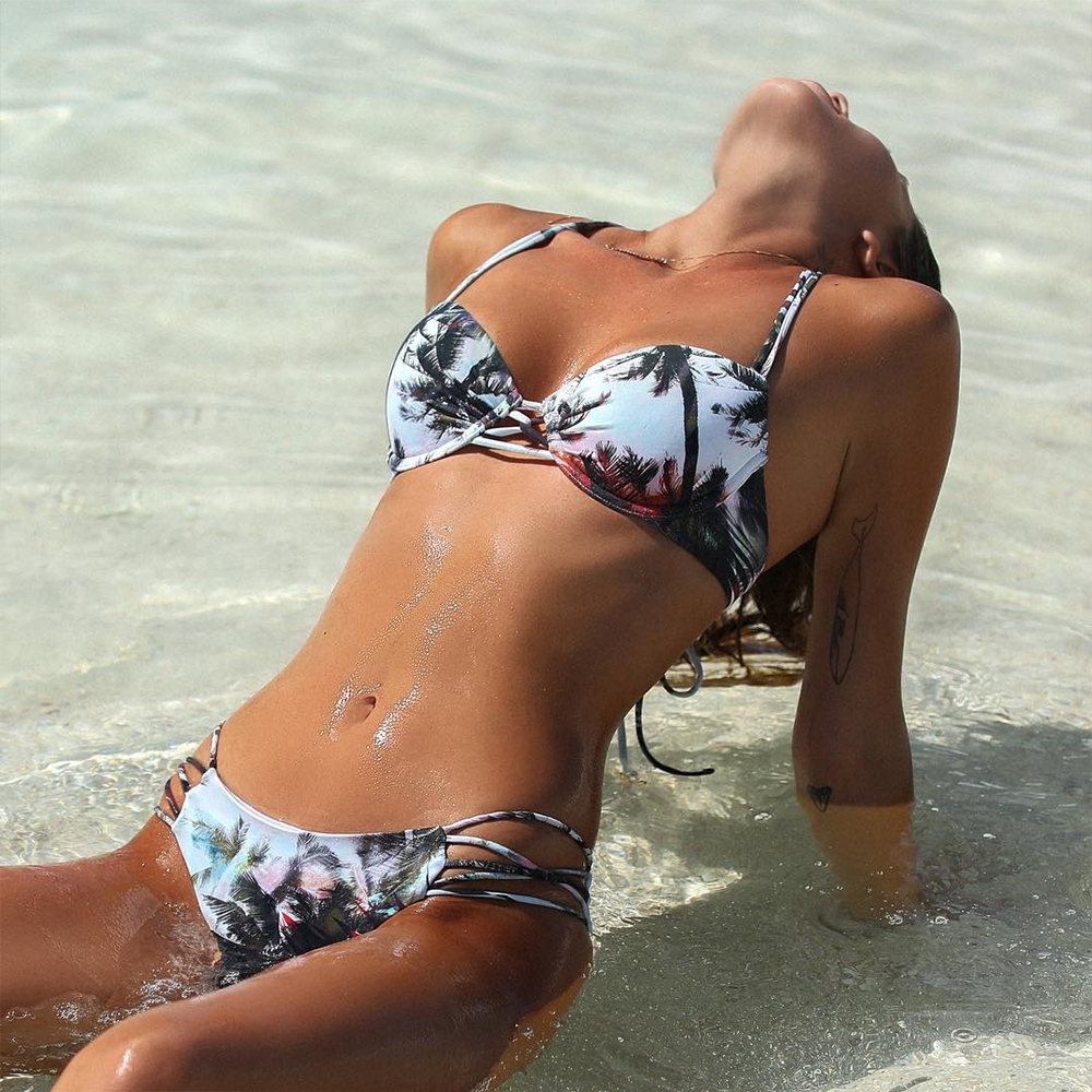 New Underwire Swimsuit Women 2018 Bikini Push Up Swimming Coconut Tree printed Bathing Suit for Girls Brazilian zaful Swimwear