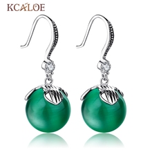 Green Jade Drop Earrings Natural Round Ball Emerald Stone Vintage Jewelry Antique Silver Piedra Agata Hanging Bride Earrings