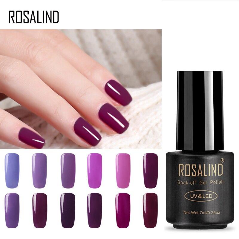 Розалинд 7 мл гель лак для ногтей благородный фиолетовый цвет серии Замочите от УФ-светодио дный лампы гель Лаки полу постоянный лак для ног...