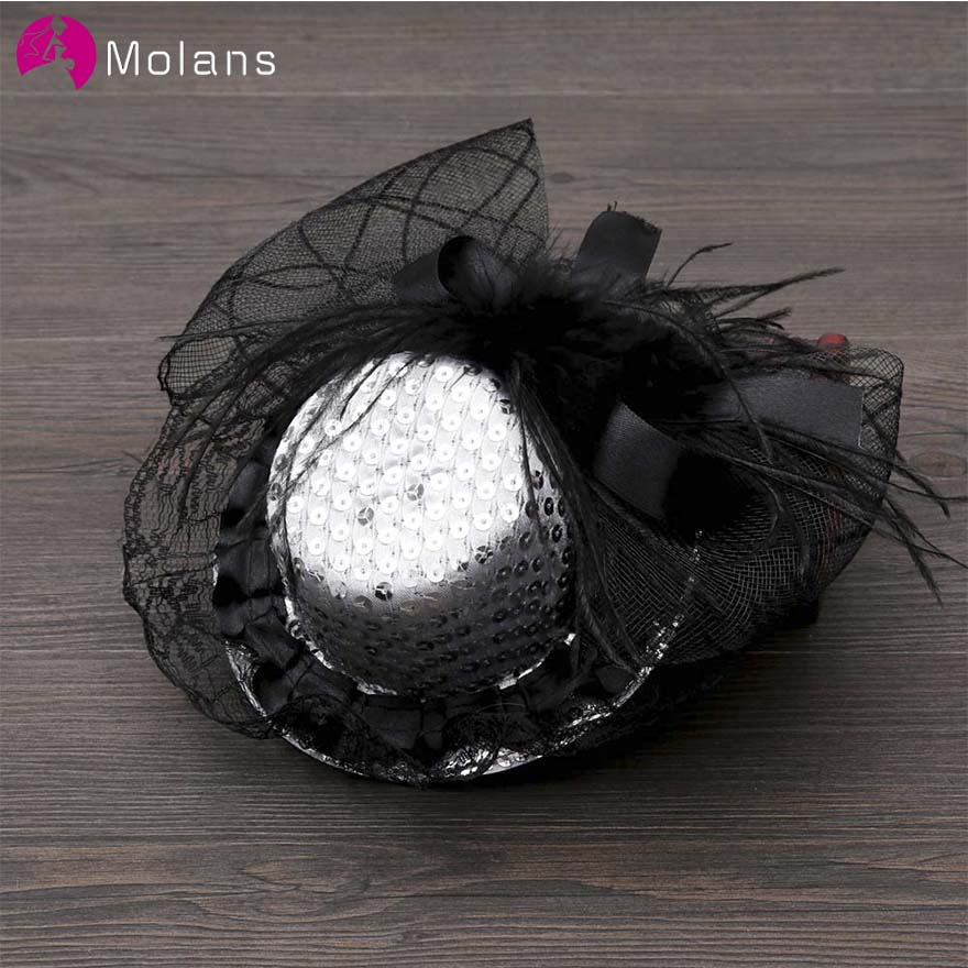 MOLANS Big Bow Floral Sequins Banquet Hat For Temperament Ladies Lace Mesh Feather Stimulation Rose With Hair Clips Fascinator