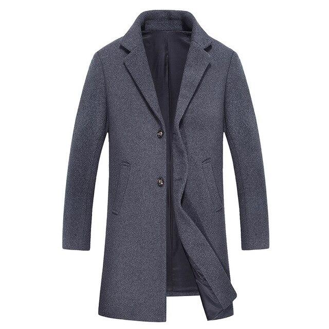 2016 inverno novo estilo dos homens de lazer da moda casaco de trincheira do sobretudo dos homens de lã grossa dos homens dos revestimentos do revestimento dos homens blusão de lã