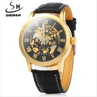 Mens watch Automatic Mechanical Watches SHENHUA brand fashion gold Roman Numerals Watch business leather strap clock 9269