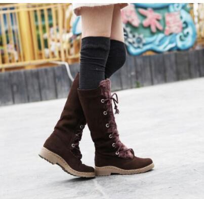 Weibliche Hülse Cross Strap Hohe Stiefel Peeling Niedrigen Ferse Schnee Stiefel V20
