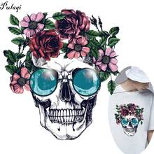 Pulaqi Skull Patch Iron On Patches For Clothing Heat Transfers Clothes DIY Stickers T-shirt Transfer F