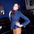 WHITNEY WANG Estilo Mais Novo 2017 Moda Streetwear Do Vintage Epaulet Sashes Jeans Revestimento Das Mulheres Trincheira Fino Casaco Jean Plus Size