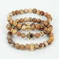 2015New Design High Grade 8mm Nature Picture Jasper Stone Beads Antique 24K Gold Hand Hamsa Bracelet,Men Skull Head Yoga Jewelry