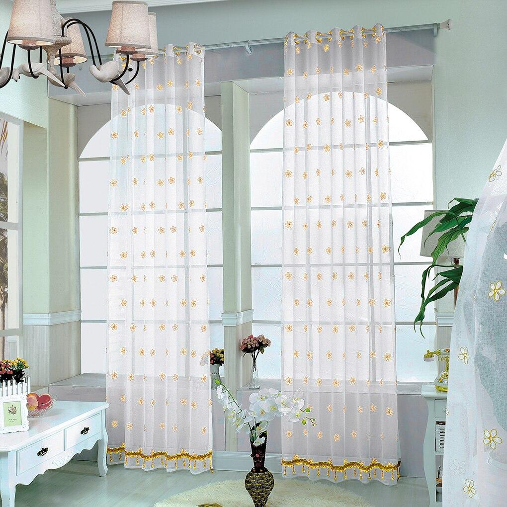 flor de gasa bordado cortina de panel para la cocina sala de estar con puertas correderas
