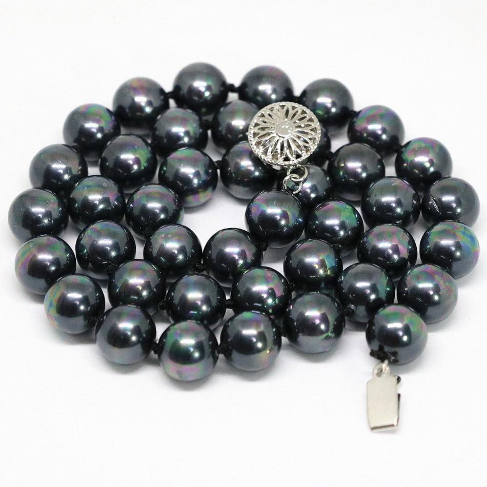 New Fashion Rantai Kalung Untuk Wanita Alami Hitam Rainbow Shell Kesehatan Natural Mengandung 6000 Ion Negatif Pearl Putaran Beads 810mm Elegan Hadiah Perhiasan 18 Inch B1469