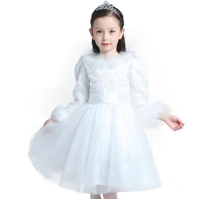 Girls dress Winter style 2017 New 3-10 years Children's clothes Add fluff princess dress Children dress White childrens dress