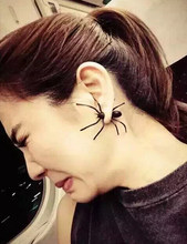 12Pairs/Lot European Black Resin Spider One Piercing Ear Stud Earrings For Women Punk Exaggerated Unique Wholesale Jewelry(China)