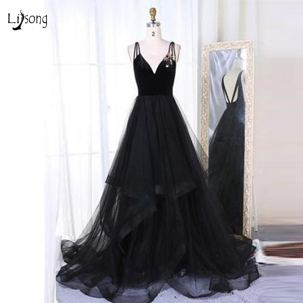 Pretty Sexy Black Long Tulle   Bridesmaid     Dresses   2018 Deep V-neck Backless Ruffles Prom Gowns Formal   Dress   For Honor Of The Bride