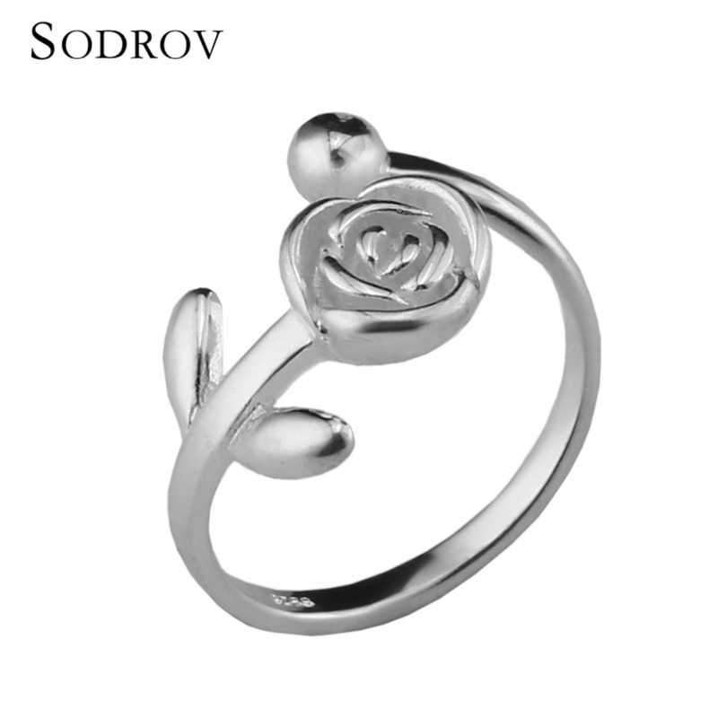 Romantic Authentic 925 Sterling Silver Flowers Open Finger Rings For Women Sterling Silver NewYear & Valentine's Day Gift R010