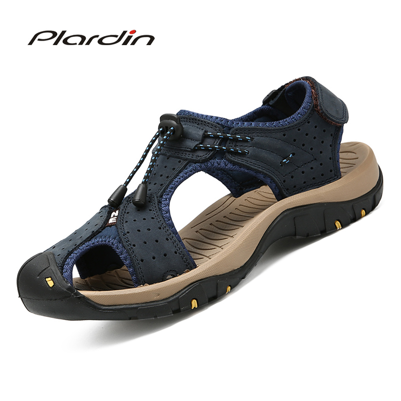 Plardin Genuine Leather Summer Soft Male Sandals Shoes For Men Breathable Light Beach Casual Quality Walking Sandals Men Casual