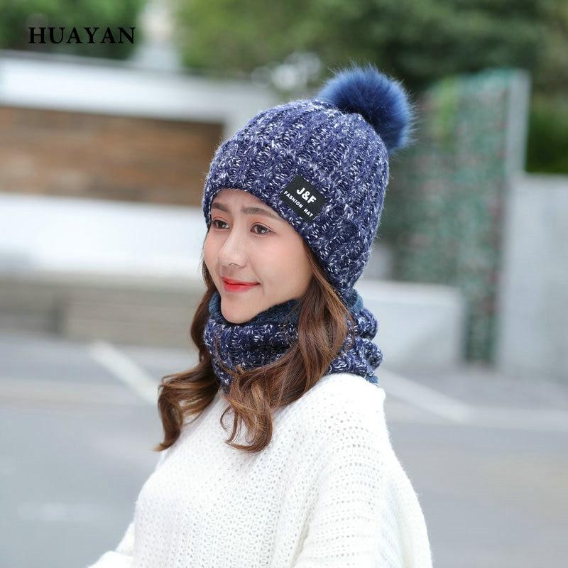 Otoño Invierno sombrero y bufanda conjuntos para las mujeres sombrero grueso  caliente gorros de punto para niñas Skullies de la bola de la piel gruesa  ... 42179d9be310