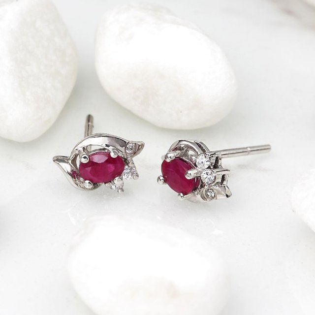 Rxb 18k White Gold Thailand Best Natural Ruby Earrings