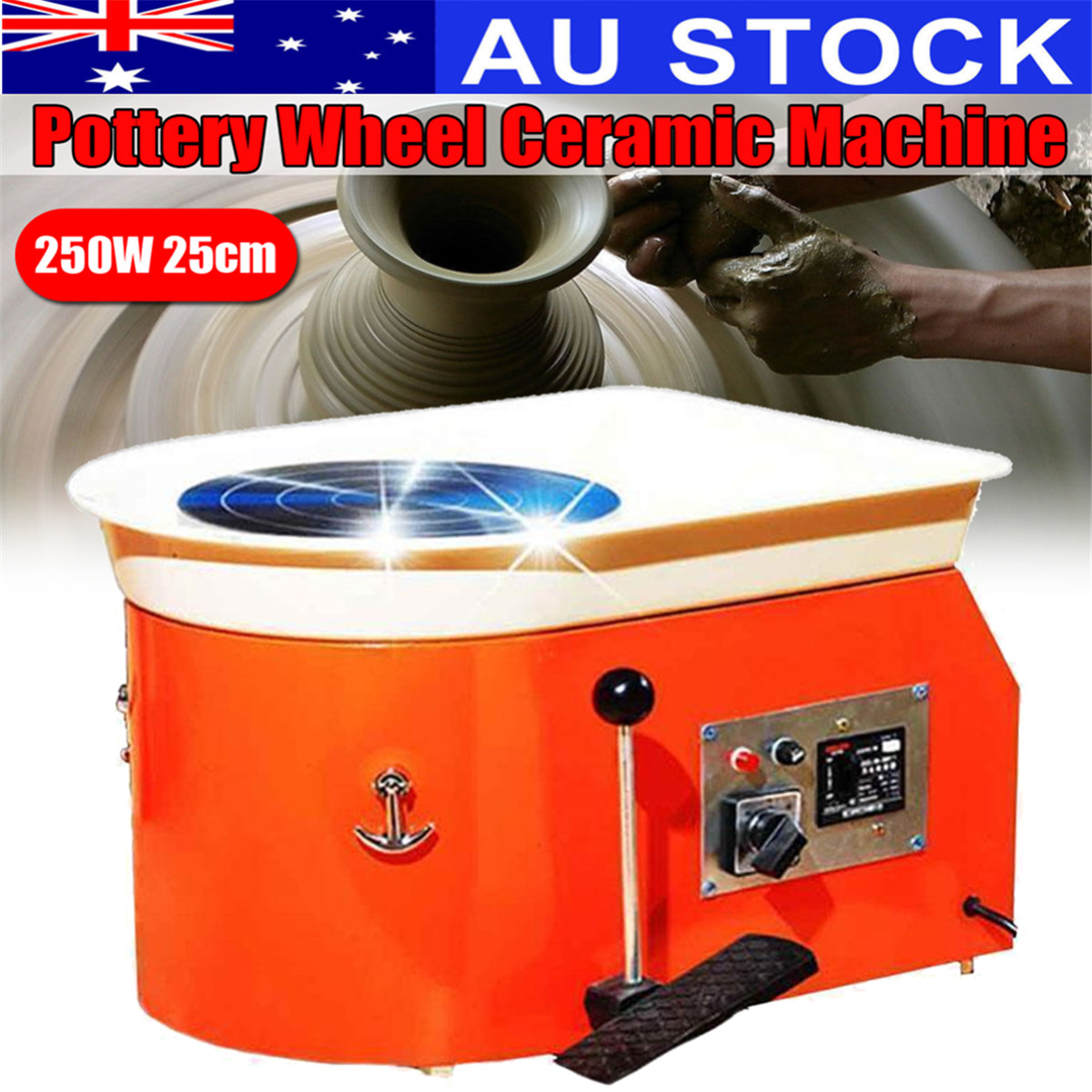 220V 250W Pottery Wheel Ceramic Machine Foot Pedal Ceramic Clay Art Mould For Ceramics Work Ship from AU