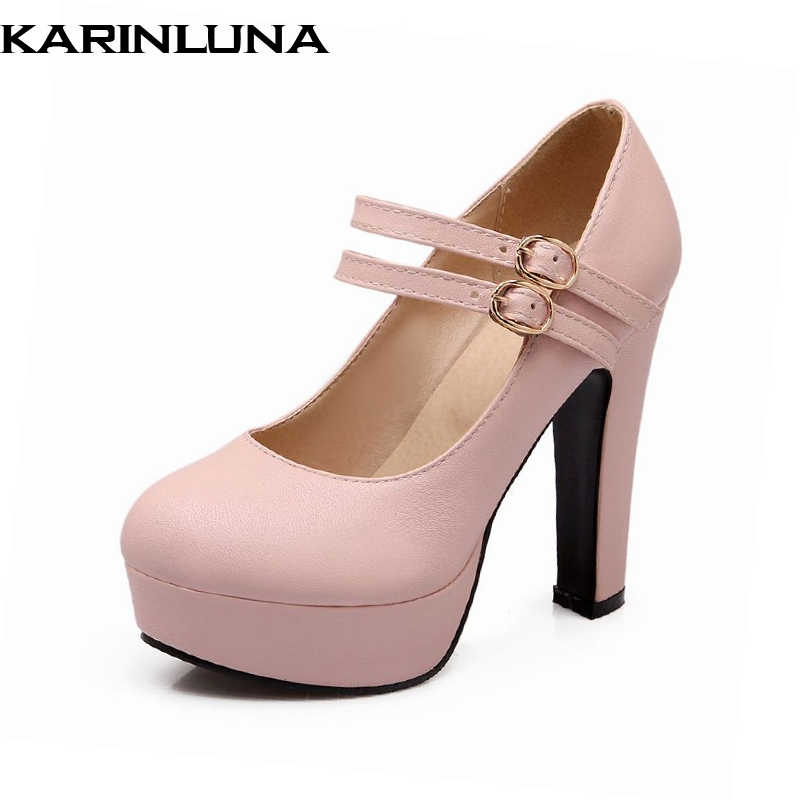 Karinluna Big Size 31-47 Women PU Mary Jane Pumps Double Buckle Up High Heels Platform Shoes Party Wedding Ladies Footwear