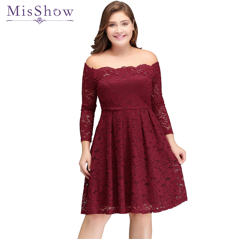In stock Women   Cocktail   Party   Dress   2019 Lace Elegant A-Line Mini Burgundy Lady Off the Shoulder   Cocktail     Dresses   Short   Dresses
