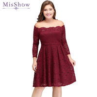 In stock Women Cocktail Party Dress 2019 Lace Elegant A Line Mini Burgundy Lady Off the Shoulder Cocktail Dresses Short Dresses