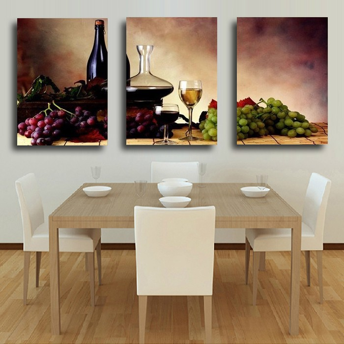 Kitchen Wall Painting Designs: 3 Pieces Modern Wall Oil Painting Abstract Wine Fruit