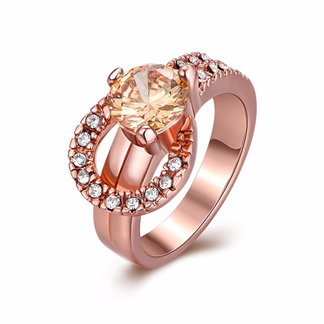 Vintage Women Wedding Horseshoe Ring Engagement Fashion Jewelry Champagne Zircon Rose Gold Color Us 7