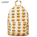 Cute Emoji 3D Printi Canvas Backpack QQ Smiley Face School Bags Unisex Children Funny Casual Laptop Nylon Backpacks For Teenager