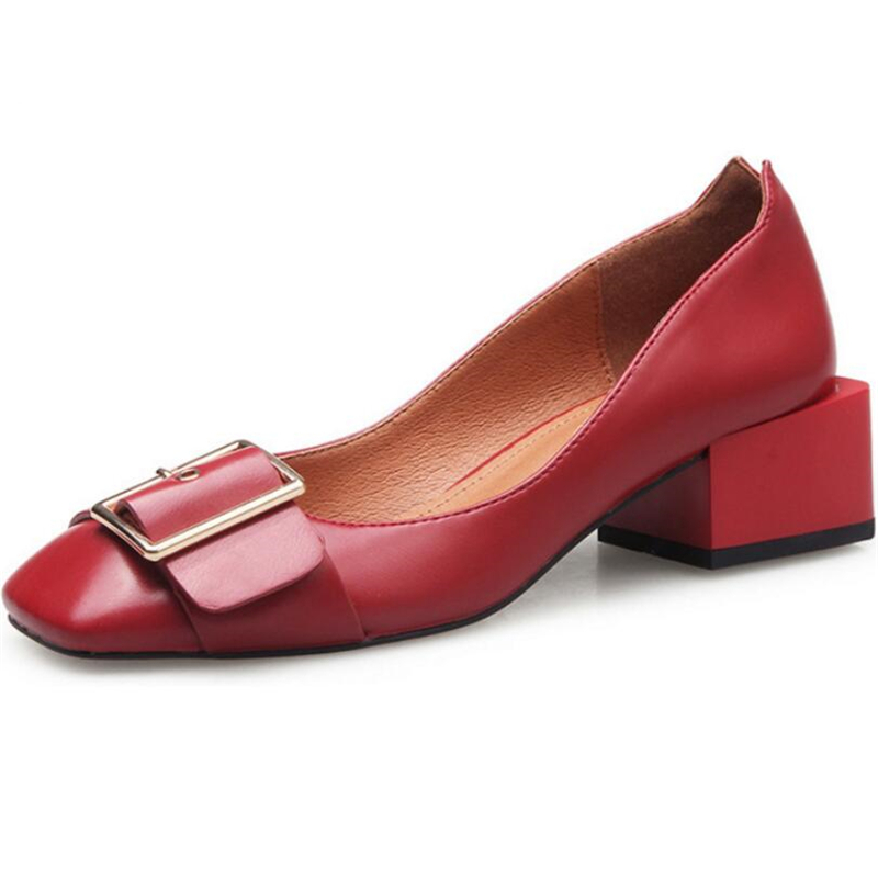 ФОТО Genuine Leather Women Shoes Buckle Thick Heel Pumps High Heels Square Toe Lady Single Shoes Office Stiletto Chaussure XK033109