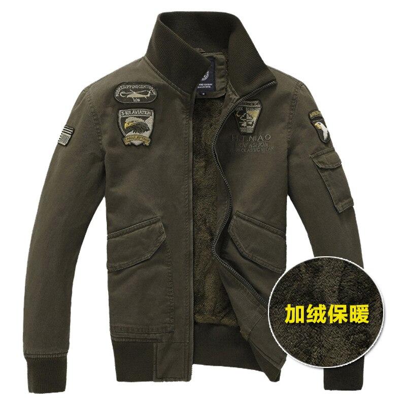 Free shipping Winter men's jacket plus velvet air force jacket embroidery badge plus size jacket Coat 807