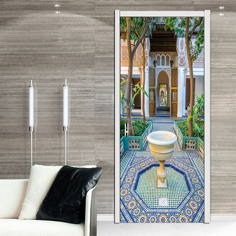 77*200cm Fine Design of Muslims Architecture Oil Paintting Wall Sticker Wallpaper Door Stickers Home Decor