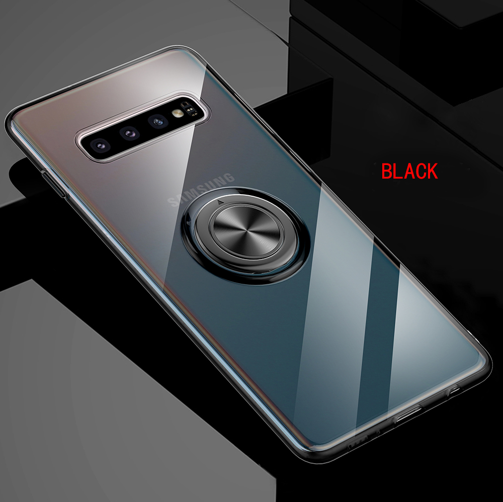 istylishmall - Soft Silicone With Ring Holder Case For Samsung Galaxy S10 5G S10 S10e S9 S8 Plus Note 10 Note 9 Note 8