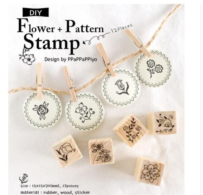 12Pcs/set New Clear Stamps Flower Pattern DIY Wooden Rubber Stamp Set Crafts Handmade Photo Album Stamps