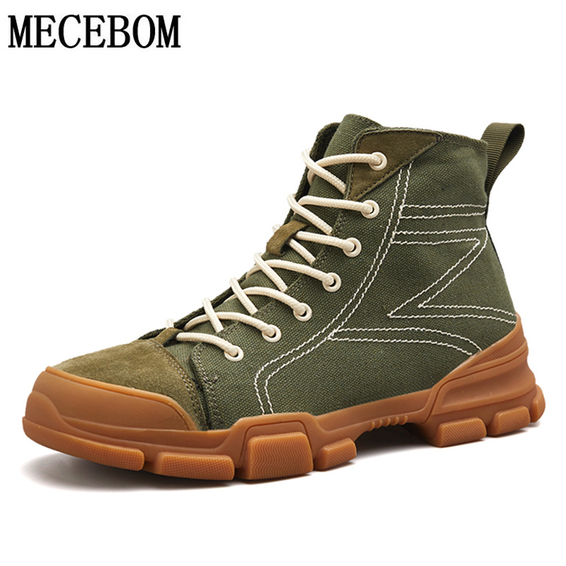 2018 New Canvas Men's Boots Fashion Army Green Men Ankle Boots Lace-up Men Casual shoes Men botas zapato size 39-44 s94m fashion army green camouflage canvas shoes woman rivets thin high heels boots botas sweet lace up ankle boots women femininas