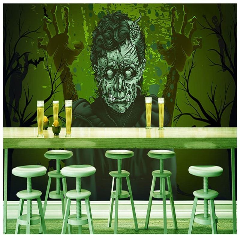 Custom photo wallpaper Horror theme hand painted graffiti wallpaper gloomy devil bar Internet cafes KTV background mural статуэтка gloomy