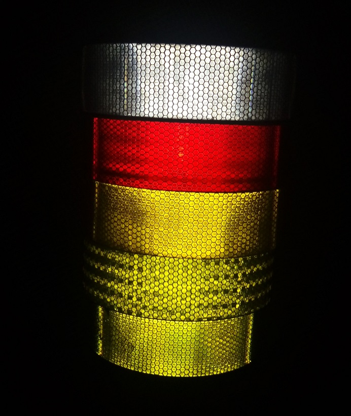5cm*1M Self-adhesive High Visibility Night Fluorescent Reflective Warning Tape Road Construction Site Van Car Traffic Sign