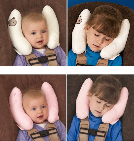 Car Baby Buggy Useful Cushion Head Neck Rest Silk Cotton Pillow Adjustable Comfortable Headrest Neck Seat Covers Protection