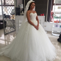 Vestido De Noiva 2017 White Ball Gown Muslim Princess Tulle Wedding Dresses with Flowers Sweetheart Bridal Gowns Plus Size