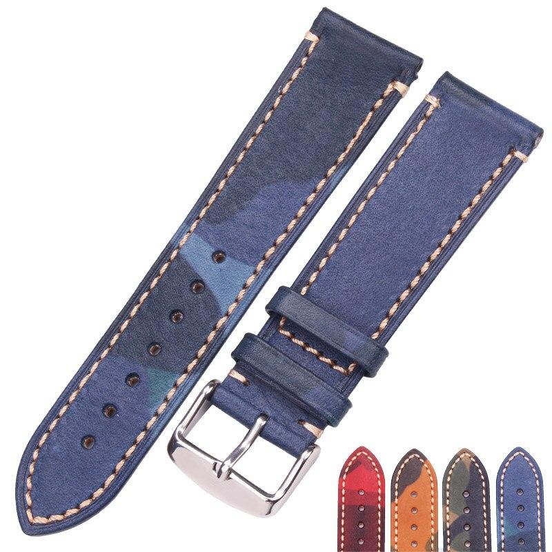 HENGRC Vintage Cowhide Strap Watch Band Women Men Watch Accessories Bracelet 18mm 20mm 22mm Red Blue Brown Green Watchband