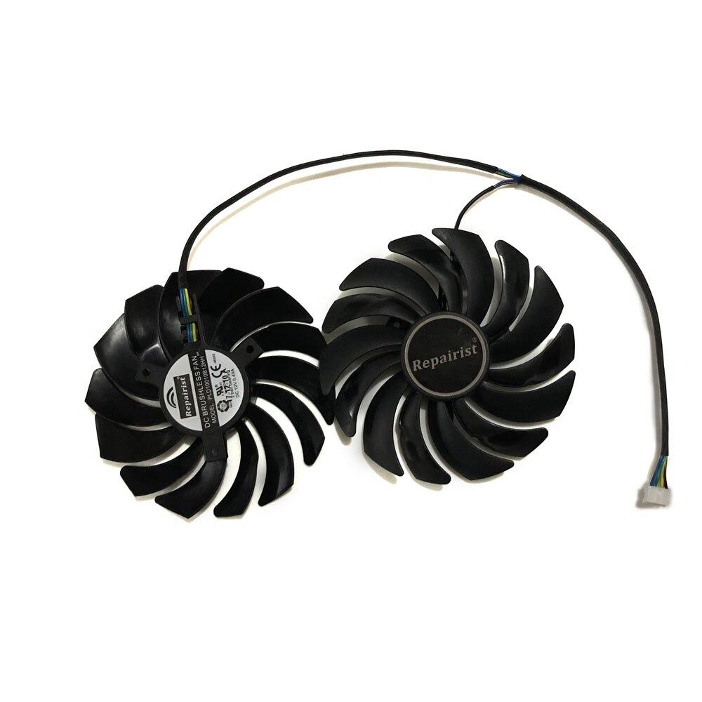2 unids/lote mejor Fans RX580 RX480 Video ventilador de refrigeración para Radeon RX 480 MSI RX 580 asic bitcoin GPU tarjeta de gráficos de refrigeración