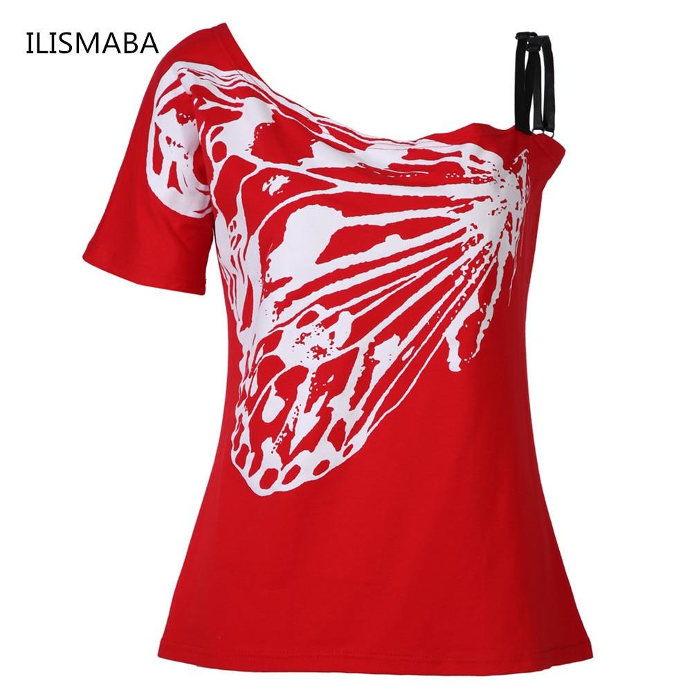 ILISMABA 2017 zomer nieuwe damesmode korte mouwen T-shirt vlinder - Dameskleding