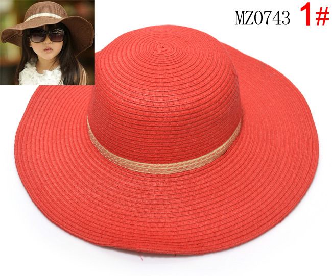 2015 Retail 7 colors summer Children solid Simple elegant large brimmed straw hat baby girls Beach Hats sun hat