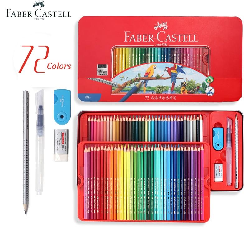 Faber Castell crayons aquarelle professionnels dans la boîte de rangement 60/72 crayons de dessin d'art multicolore dans des nuances vives, superposition