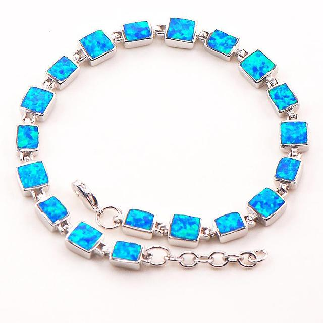 "Blue Fire Opal 925 Sterling Silver Bracelet  P88 8""  Free Ship High quantity Factory price Beautiful Jewelry For Men and Women"