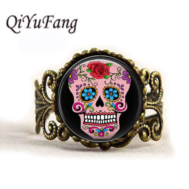 QiYuFang Sugar Skull Glass Cabochon Men Choker ring Women Jewelry Vintage Bronze Chain Day of the Dead Rings Antique Women