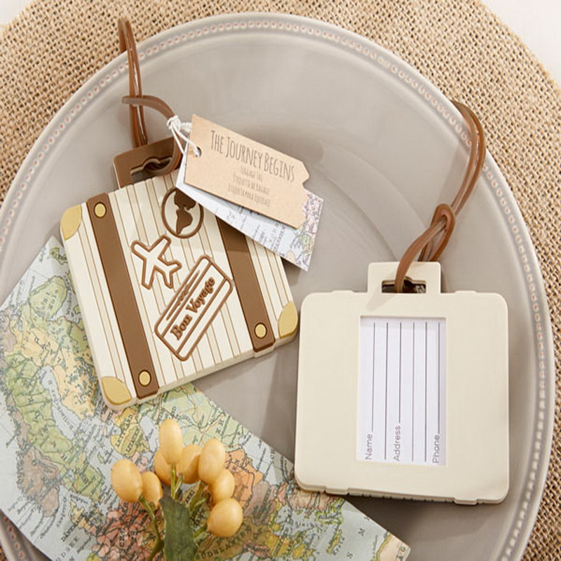 FREE SHIPPING by DHL,FEDEX,UPS(50pcs/Lot)+Let the Journey Begin Vintage Suitcase Luggage Tag Favors
